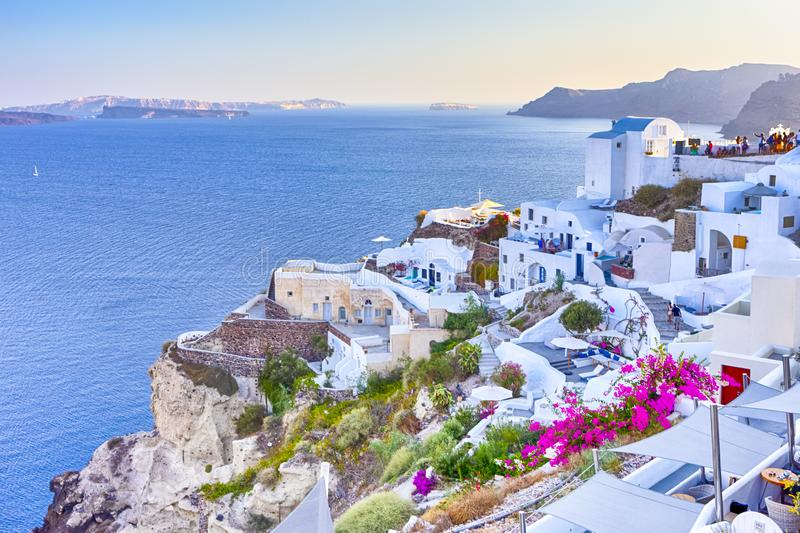 Travel Destinations. Picturesque Breathtaking View of Caldera Volcanic Slope of Oia Village in Santorini Island in Greece stock image