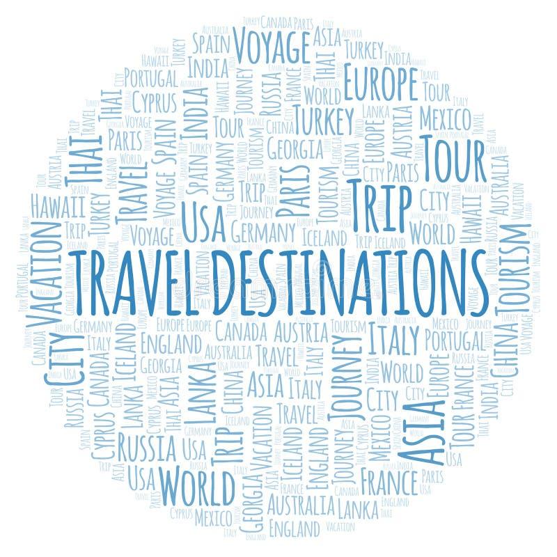 Travel Destinations word cloud. stock illustration
