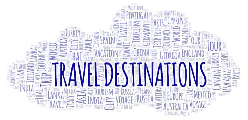 Travel Destinations word cloud. vector illustration