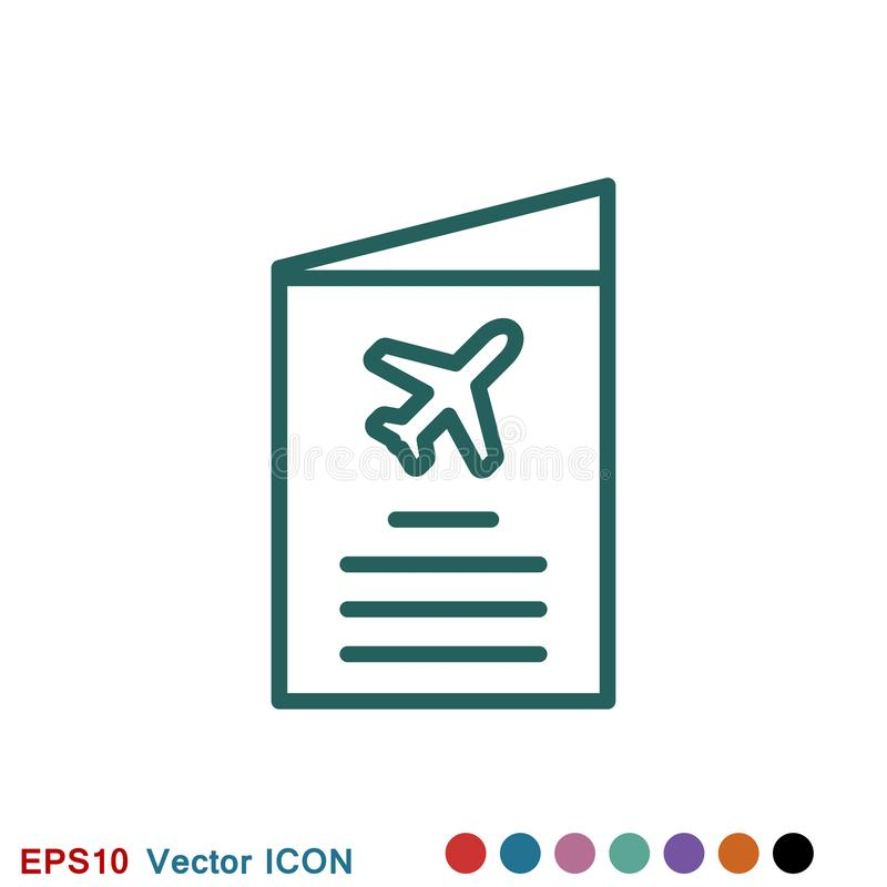 Travel documents icon, passport with tickets flat icon isolated. Concept travel and tourism vector illustration