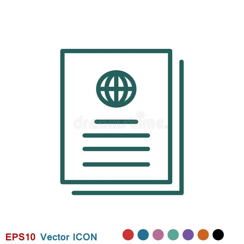 Travel documents icon, passport with tickets flat icon isolated. Concept travel and tourism royalty free illustration