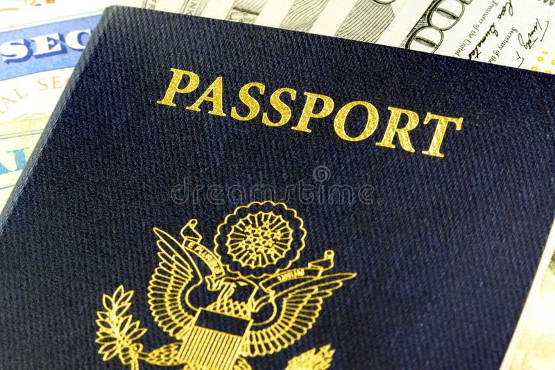 Download Travel Documents - USA Passport With American Currency Stock Image - Image: 35975937