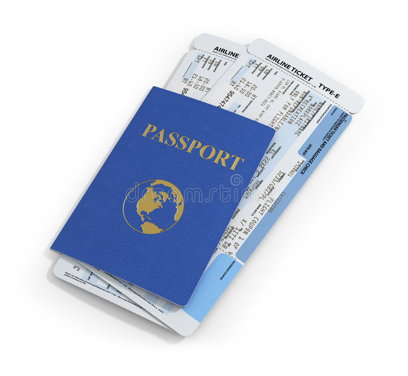 Travel documents on white background. Passport and airline ticket stock illustration