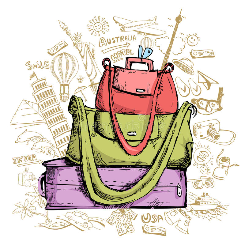 Download Travel Doddle with Luggage stock vector. Illustration of international - 23825966