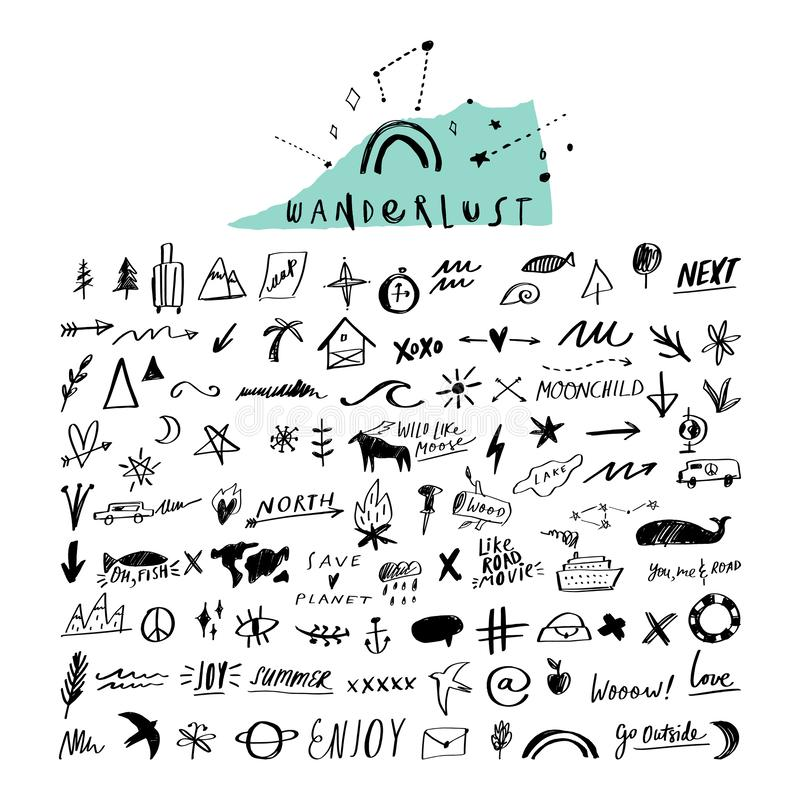 Travel doodle handdrawn vector icons set. Symbols, signs, decor elements royalty free illustration