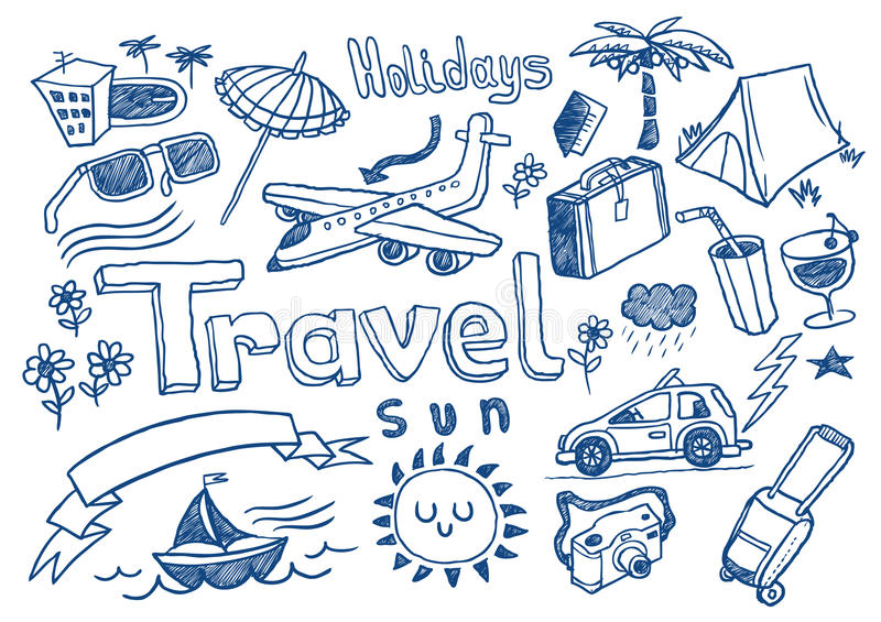 Download Travel doodles stock vector. Image of pool, rest, camera - 12387307