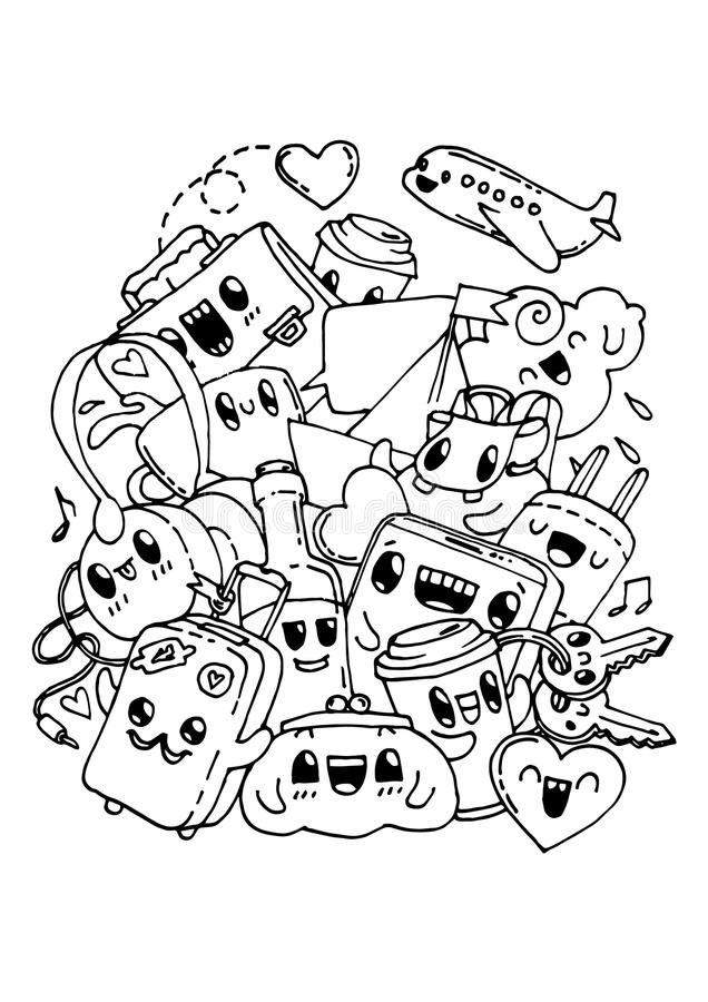Travel Doodles Coloring Pages For Kids Stock Vector