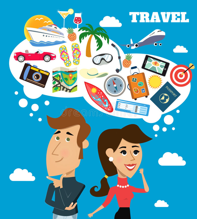Travel dreams scene. Business life cheerful woman and man with speech bubble travel dreams scene vector illustration vector illustration
