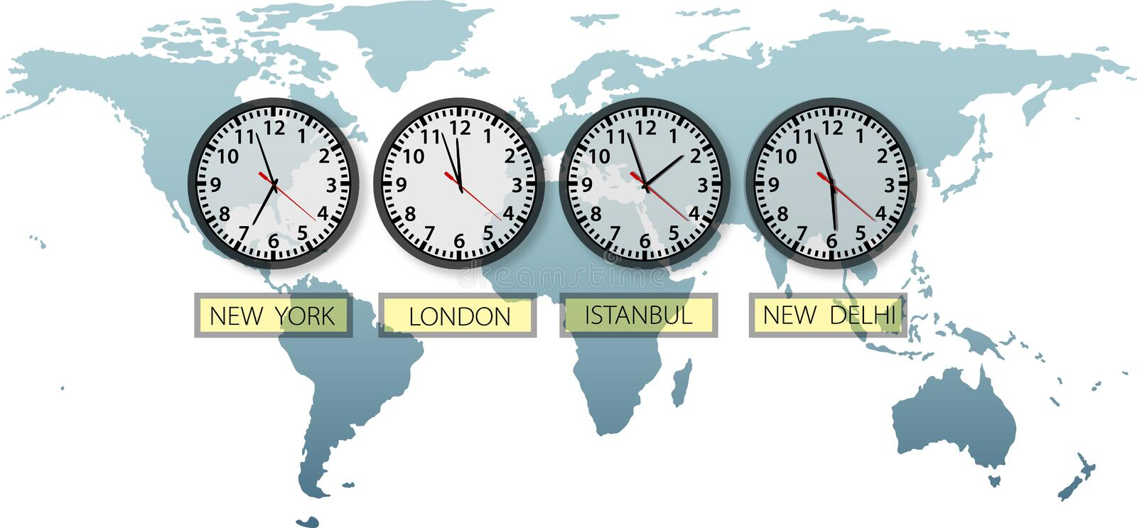Travel Earth city time clocks on world map. With space to crop and for copy royalty free illustration