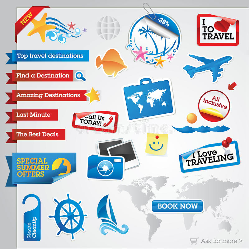 Travel elements collection vector illustration