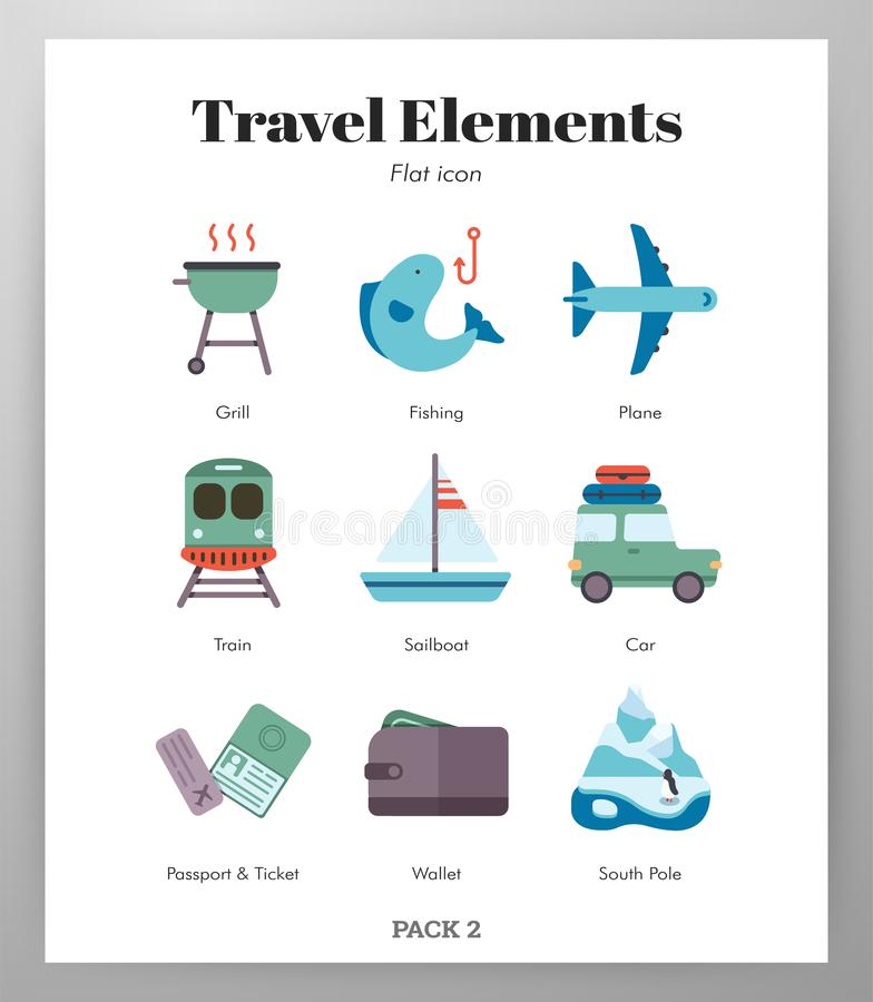 Travel elements flat pack stock illustration