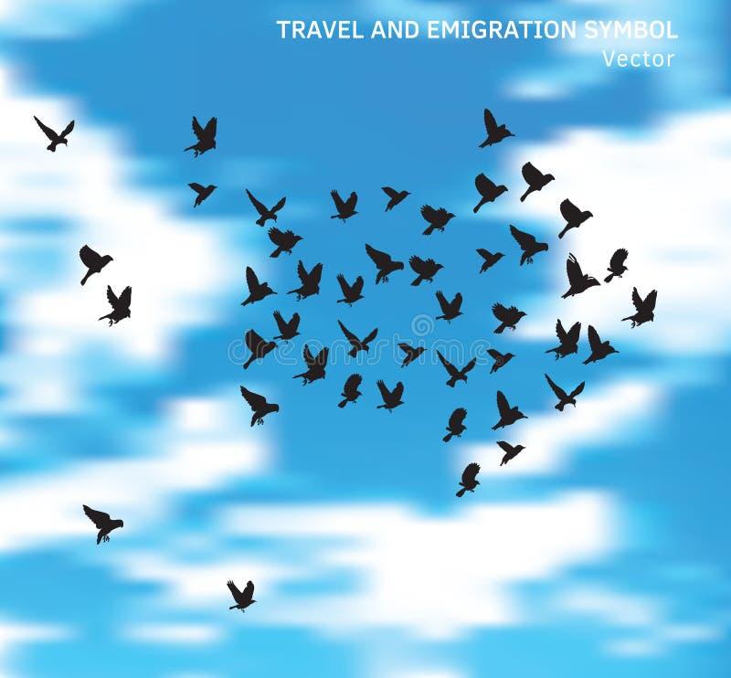 Travel and emigration birds symbol in blue clouds sky. Color vector illustration. EPS8 royalty free illustration