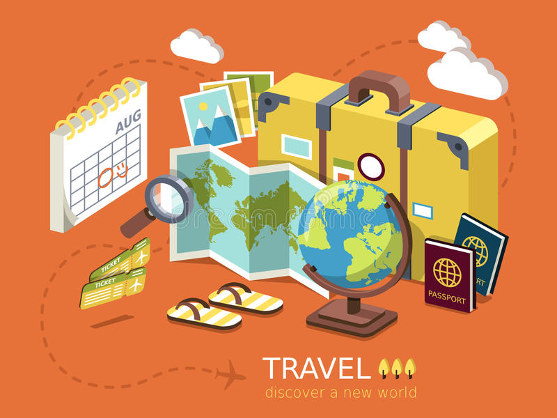 Travel essentials flat 3d isometric infographic royalty free illustration