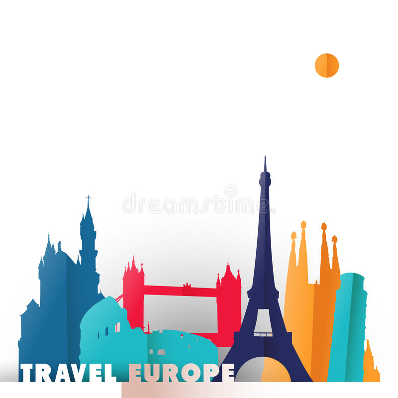 Travel Europe paper cut world monuments royalty free illustration