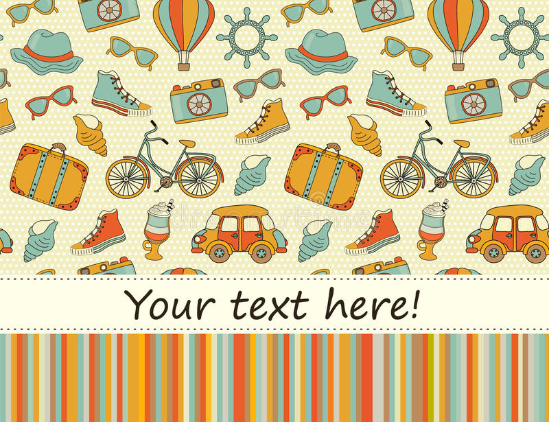 Travel Europe seamless hipster Background with place for text. vector illustration
