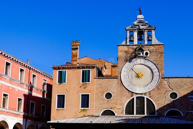 Travel Europe - Venice, Italy. The big clock of the Saint Giacomo of Rialto Church in Venice, Italy stock photography