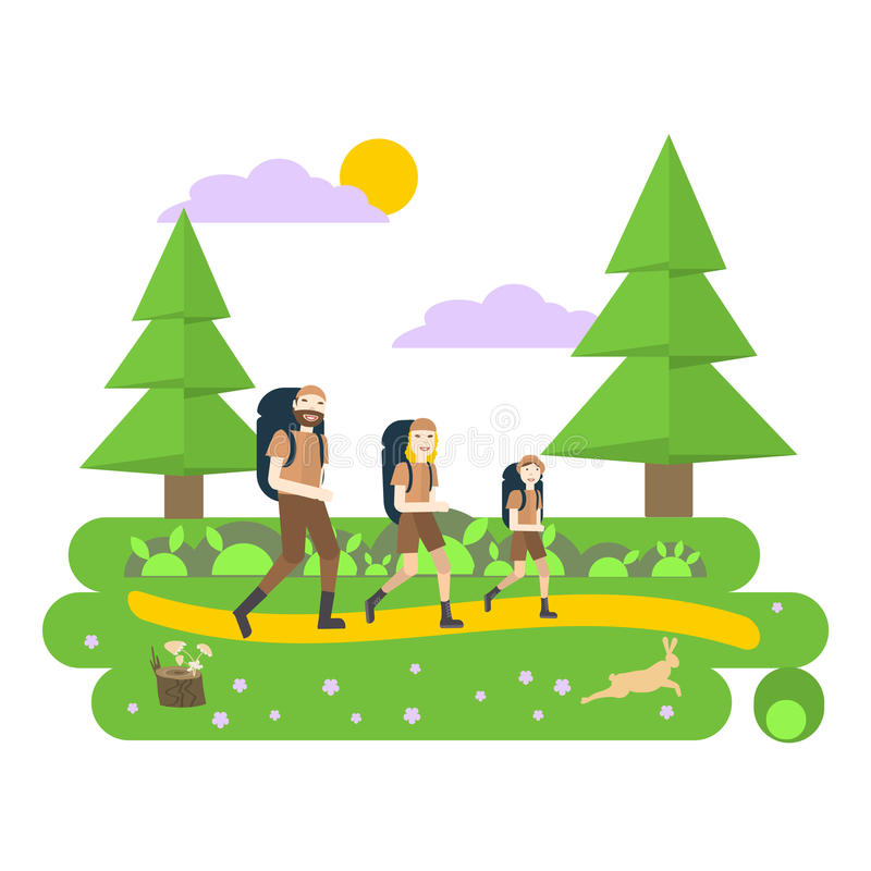 Travel family with backpack vector illustration