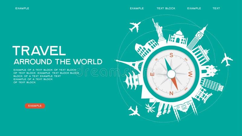 Travel famous landmarks royalty free illustration