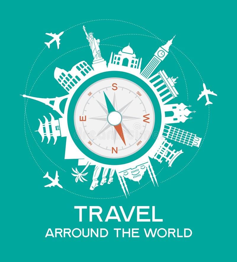 Travel famous landmarks vector illustration