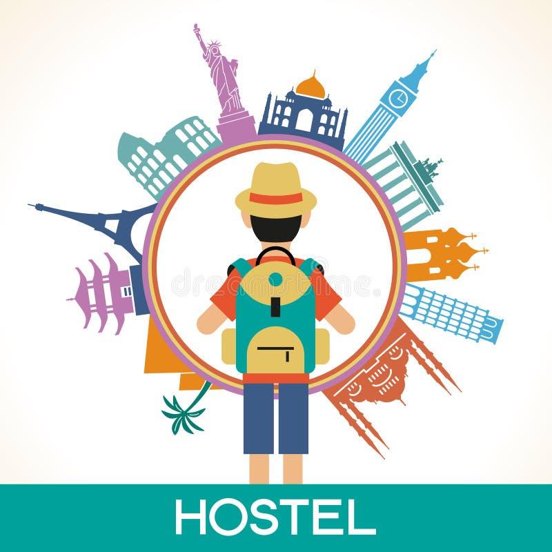 Travel famous landmarks stock illustration