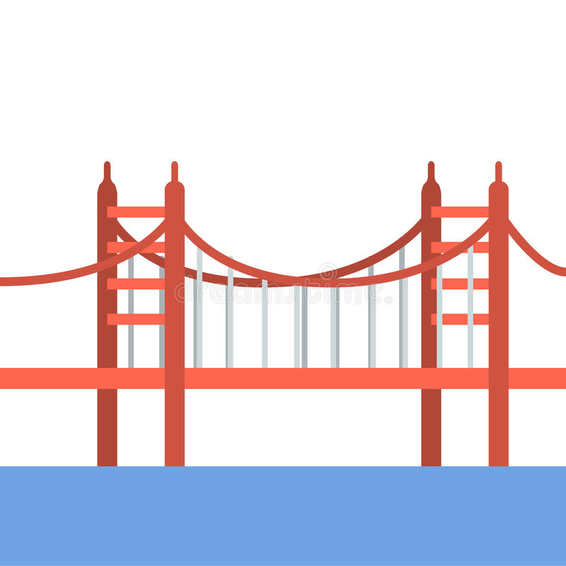 Travel famous places Golden gate bridge illustration icon. Flat illustration of a red Golden Gate Bridge royalty free illustration