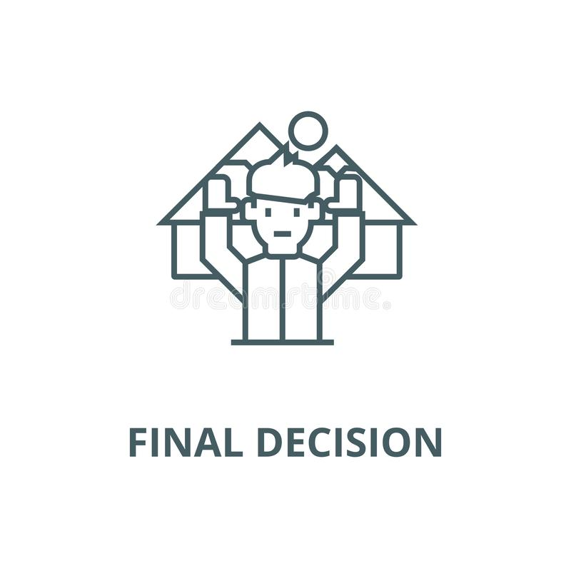 Travel,final decision,man with  vector line icon, linear concept, outline sign, symbol stock illustration