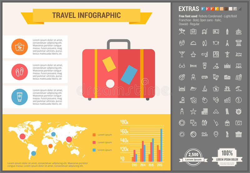Travel flat design Infographic Template. Travel infographic template and elements. The template includes illustrations of hipster men and huge awesome set of royalty free illustration