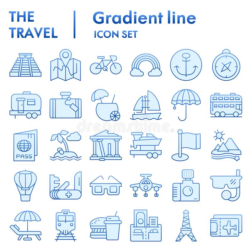 Travel flat icon set, tourism symbols collection, vector sketches, logo illustrations, holiday signs blue gradient stock illustration