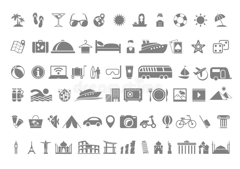 Travel flat icon set royalty free illustration