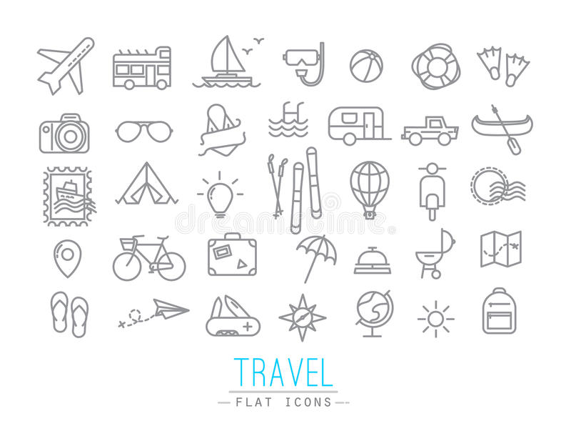 Travel flat icons. Travel icons drawing in flat modern style with grey lines vector illustration