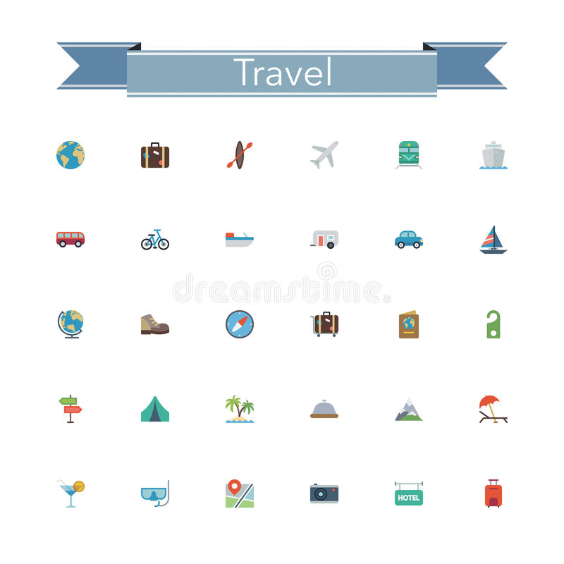 Download Travel Flat Icons stock vector. Illustration of diving - 55363773