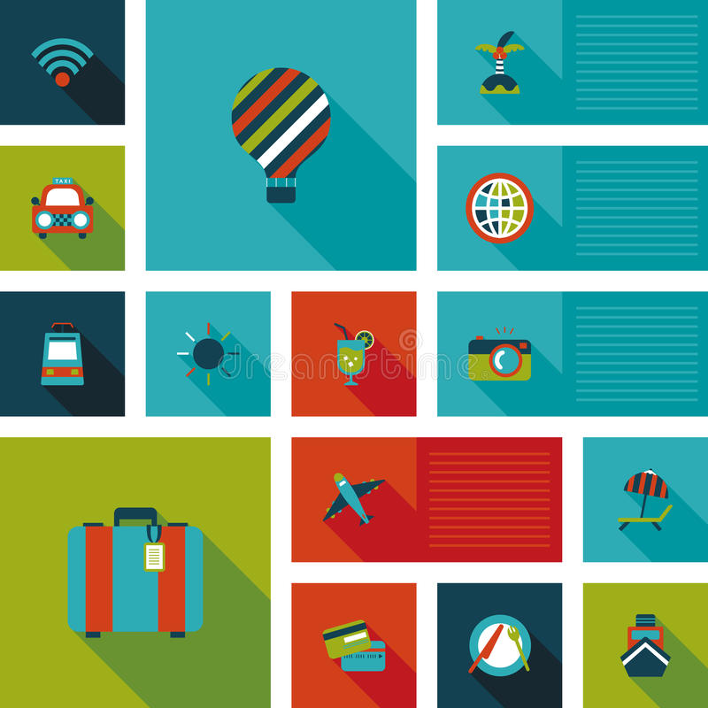 Travel flat icons vector ui with long shadow. Vector illustration file stock illustration