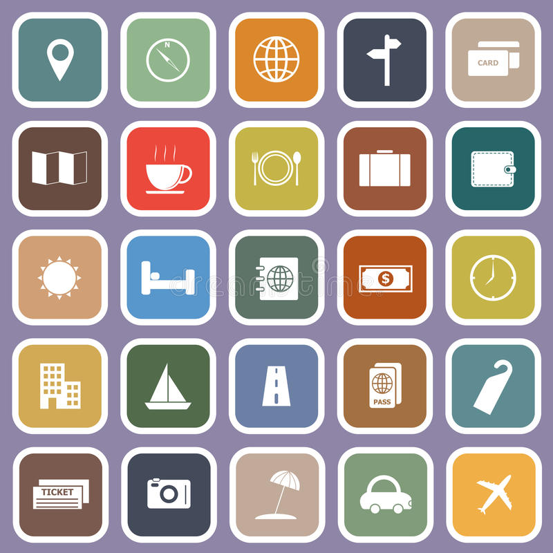 Travel Flat Icons On Violet Background Royalty Free Stock Photography