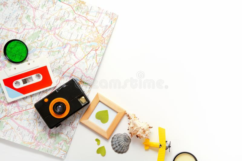 Travel flat lay white background, journey banner, template for freelance blog, travel website. Retro hipster objects. stock image