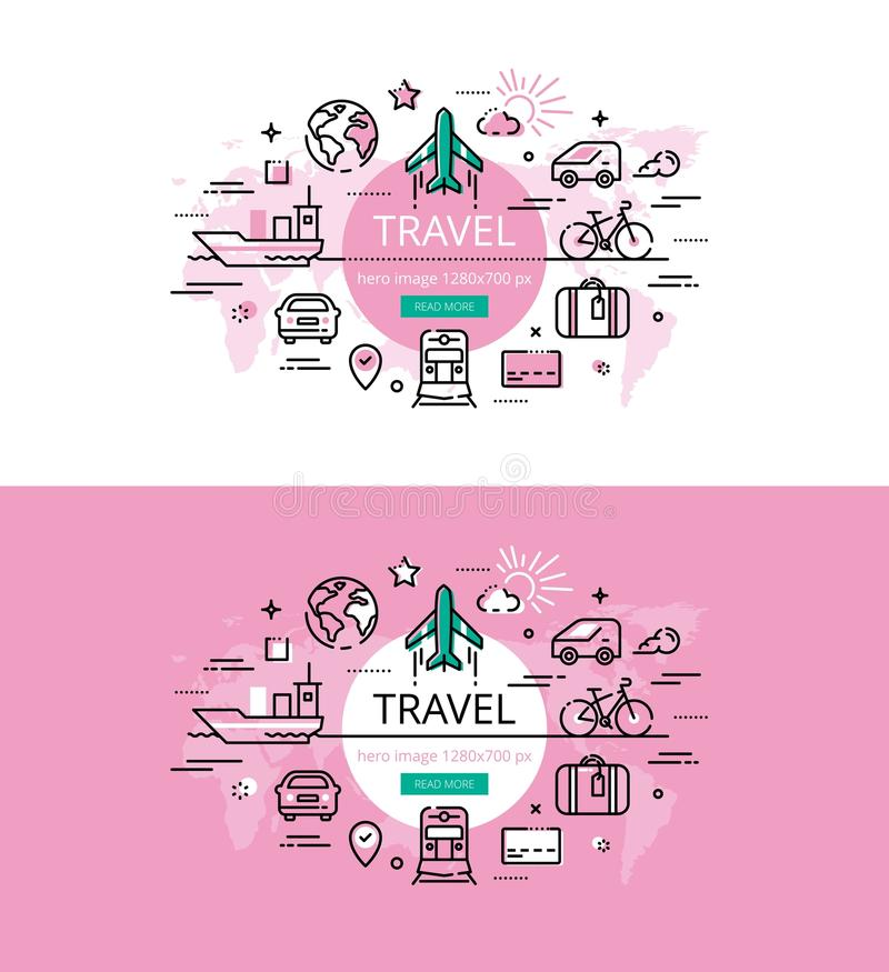 Travel. Flat line color hero images and hero banners design concept vector illustration