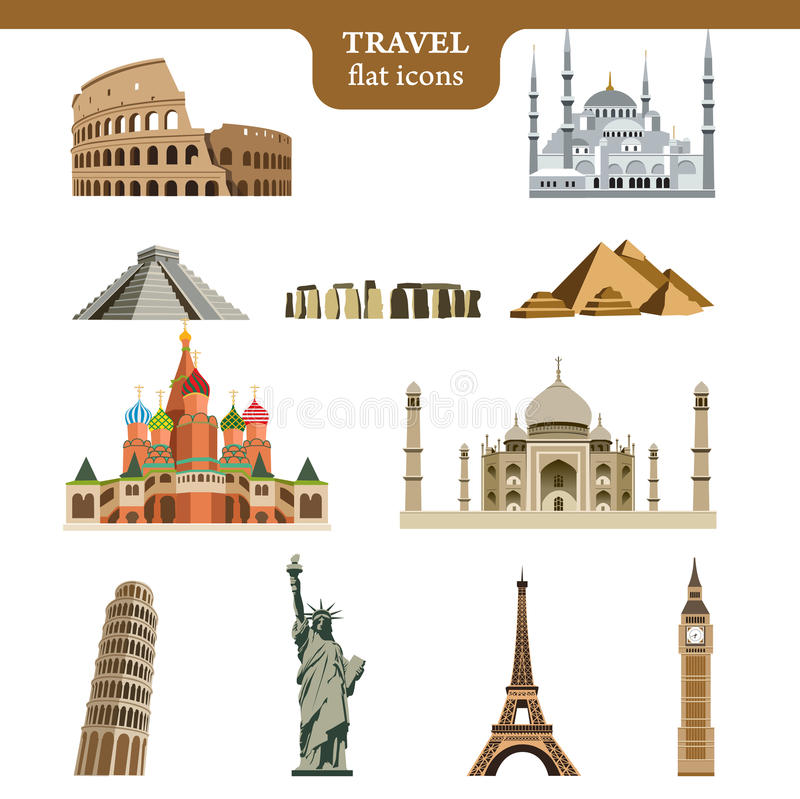 Travel flat vector icons set royalty free illustration