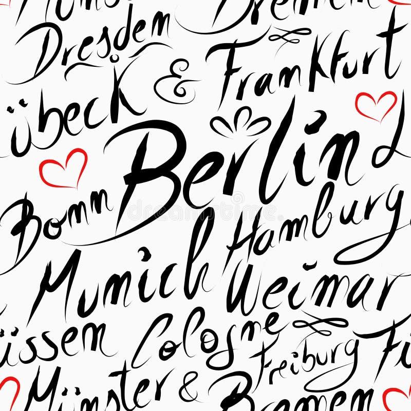 Travel Germany destination city seamless pattern. Travel Germany famous cities with handmade calligraphy. Berlin city, Frankfurt, Munich, Hamburg, Dresden royalty free illustration