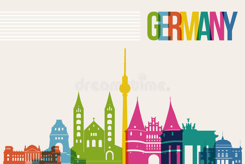 Travel Germany destination landmarks skyline background. Travel Germany famous landmarks skyline multicolored design background. Transparency vector organized in