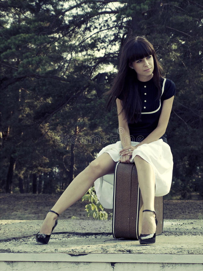 Download Travel girl stock image. Image of suitcase, legs, forest - 26498699