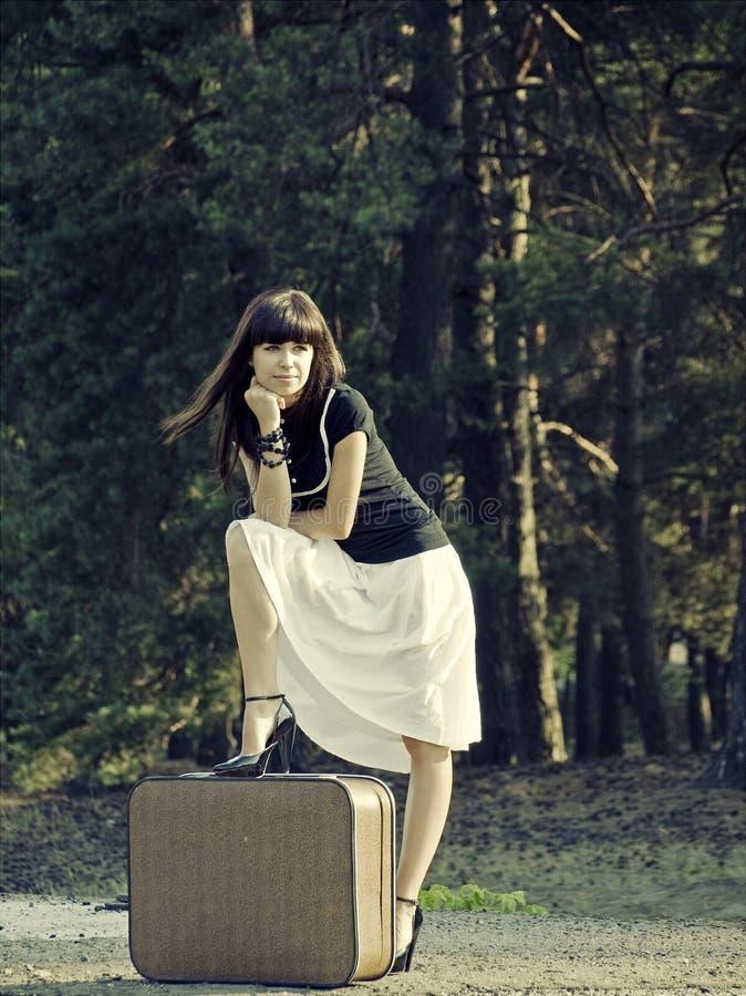 Download Travel girl stock image. Image of suburban, train, suitcase - 26498717