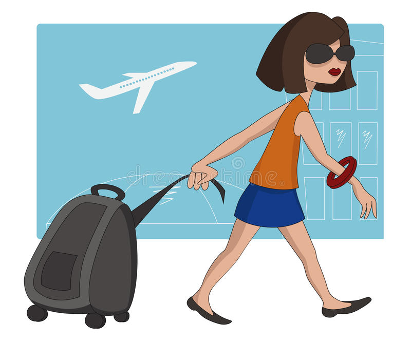 Travel Girl At The Airport Royalty Free Stock Image