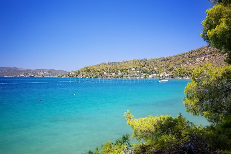 Summer holiday in Greece. Spectacular view on one of the most beautiful beaches in Poros Island. Summer holiday. Travel Greece. Spectacular view on one of the royalty free stock photos