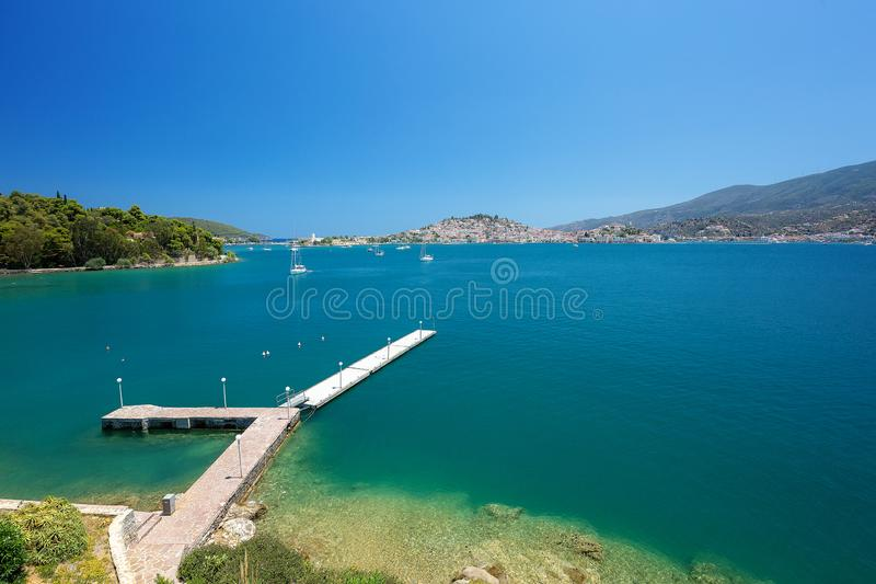 Travel Greece. Spectacular view in Poros Island. Summer holiday royalty free stock images