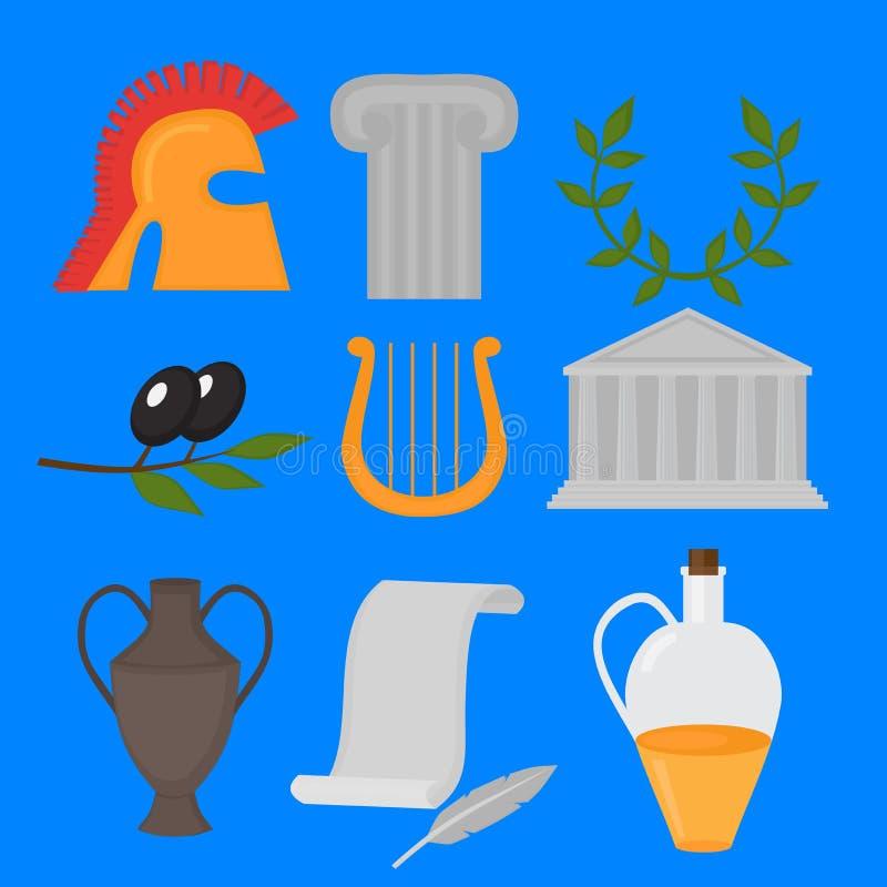 Travel Greek Culture Landmarks and cultural features flat icons design set. Travel Greek Culture Landmarks and cultural features flat icons design set vector illustration