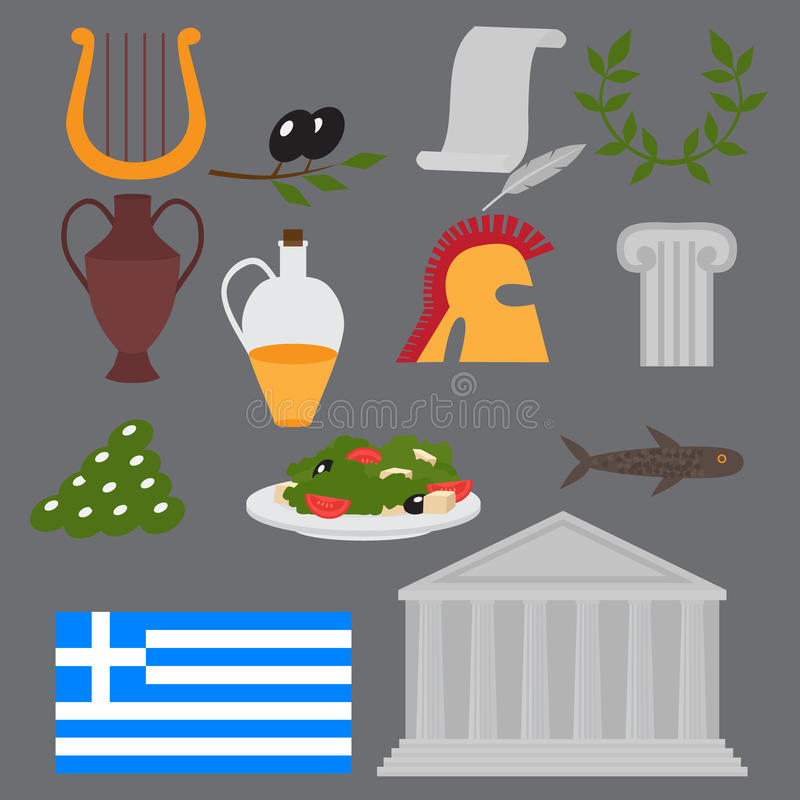 Travel Greek Culture Landmarks and cultural features flat icons design set. National Greece flag. Travel Greek Culture Landmarks and cultural features flat icons vector illustration