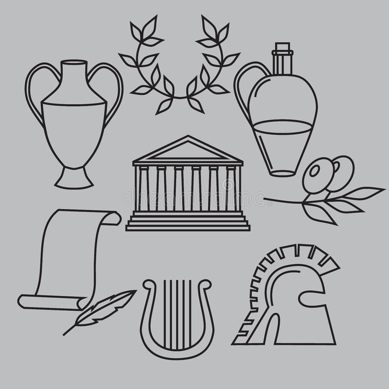 Travel Greek Culture Landmarks and cultural features flat icons design set. Travel Greek Culture Landmarks and cultural features flat icons design set stock illustration