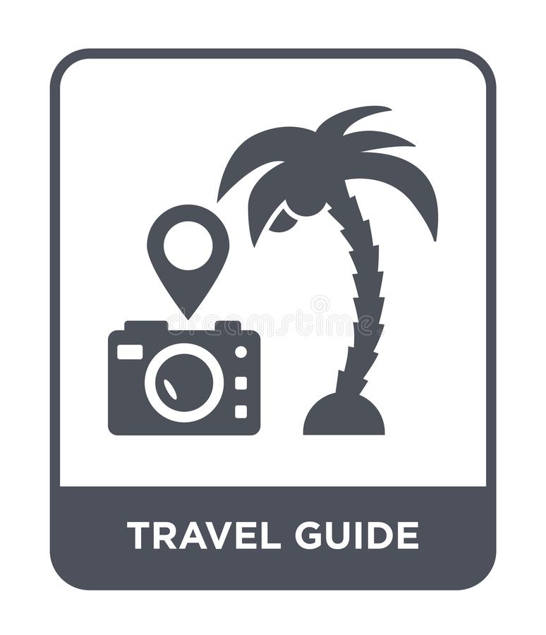 Travel guide icon in trendy design style. travel guide icon isolated on white background. travel guide vector icon simple and. Modern flat symbol for web site stock illustration