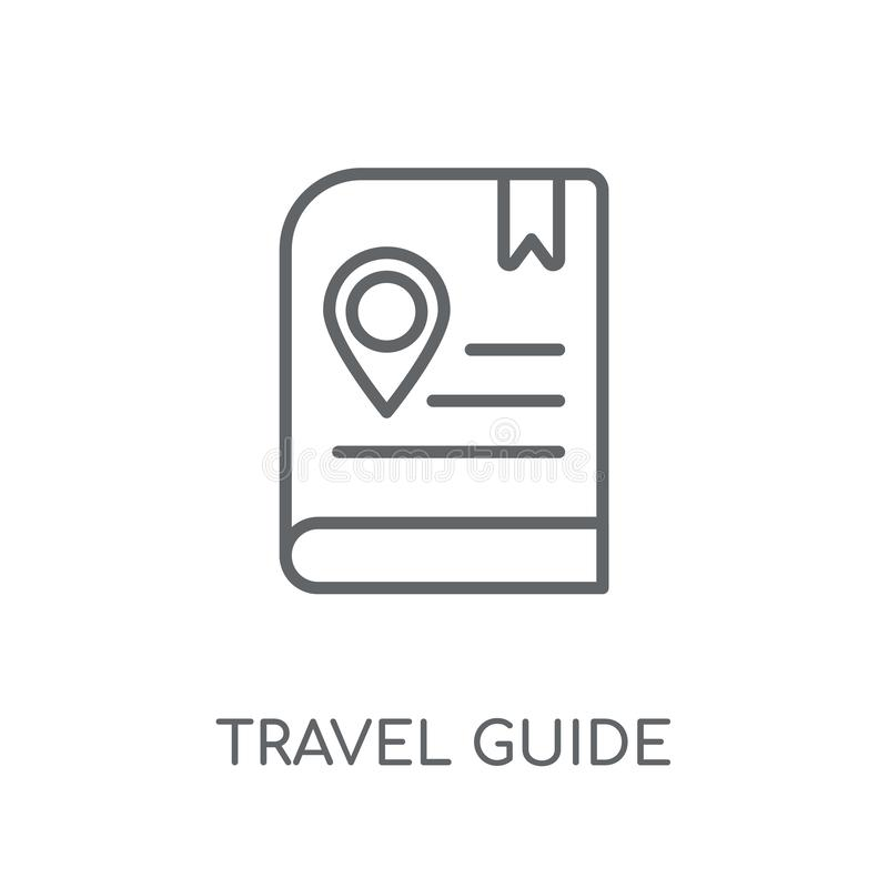 Travel guide linear icon. Modern outline Travel guide logo conce royalty free illustration
