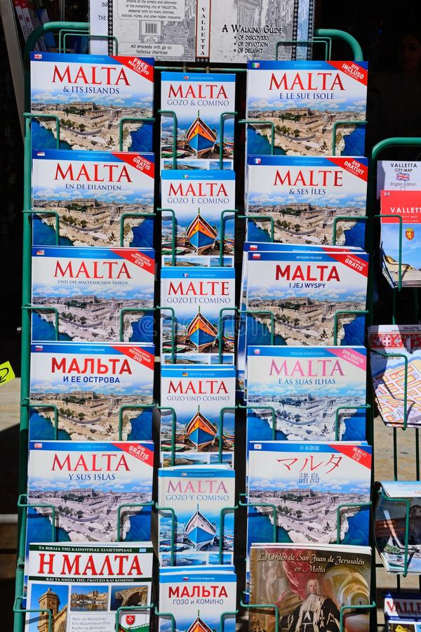 Travel guides for sale, Malta. royalty free stock photo