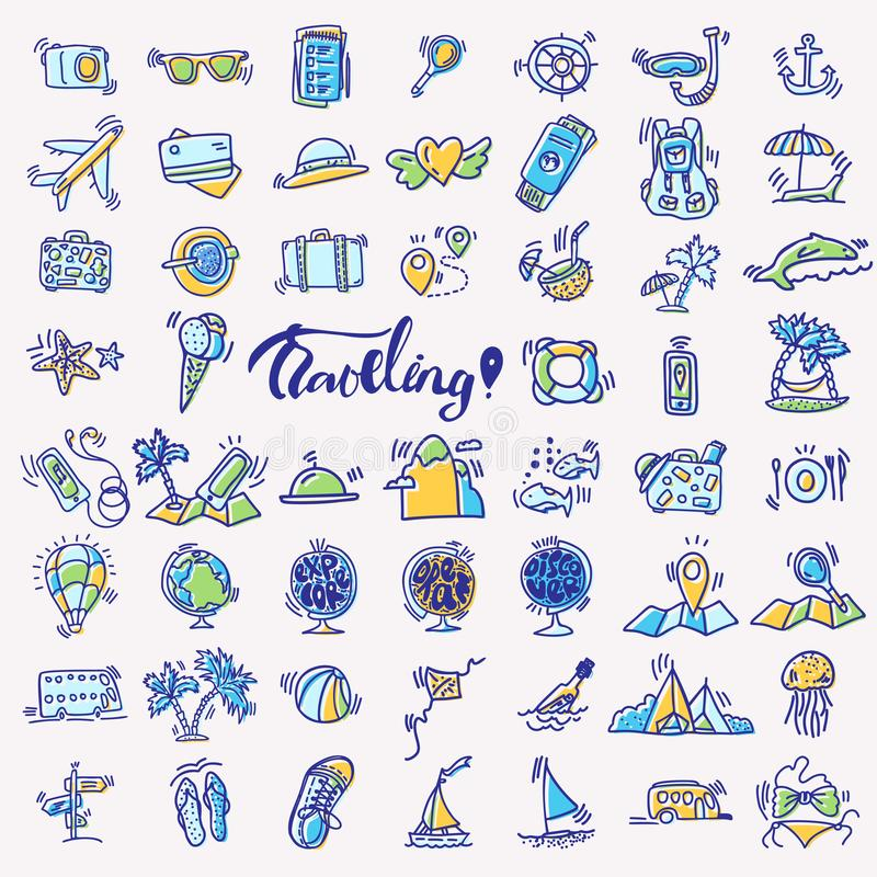 Travel hand draw icons. Icon lined cartoon collection about adventure, outdoor activities, beach, summer, travelling stock illustration